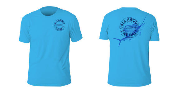 Ballyhoo/Sailfish Short Sleeve T-shirt - Turquoise Color - 100% Combed Ringed-Spun Fine Jersey Cotton (FREE SHIPPING)