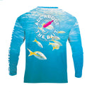 (BLEM) - LARGE - Yellowtail Snapper w/ Drift Jig - COOLMAX - 100% Micro Fiber Polyester Performance Long Sleeve Shirt (FREE SHIPPING)