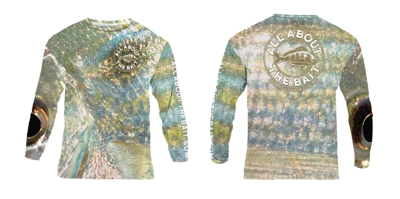 (BLEM) (LARGE ONLY) - Pinfish EYE Bait Skins - COOLMAX - 100% Micro Fiber Polyester Performance Long Sleeve Shirt (FREE SHIPPING)