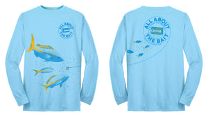 $15  (2XL & 3XL)  ***(BLEM - Off Sized) Chum with Yellowtail Snapper.  Light Blue - COOLMAX - 100% Micro Fiber Polyester Performance Long Sleeve Shirt (FREE SHIPPING)