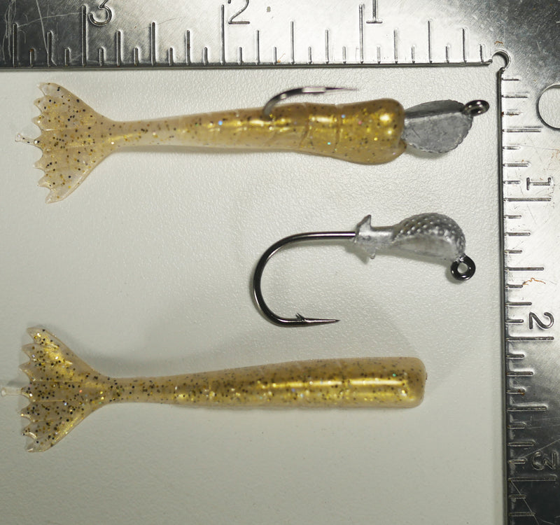 "1/4 oz - 2/0 COBRA JIGHEAD (qty 5) + AATB / Esky 3"" Soft Plastic Shrimp (qty 25) - GOLD"