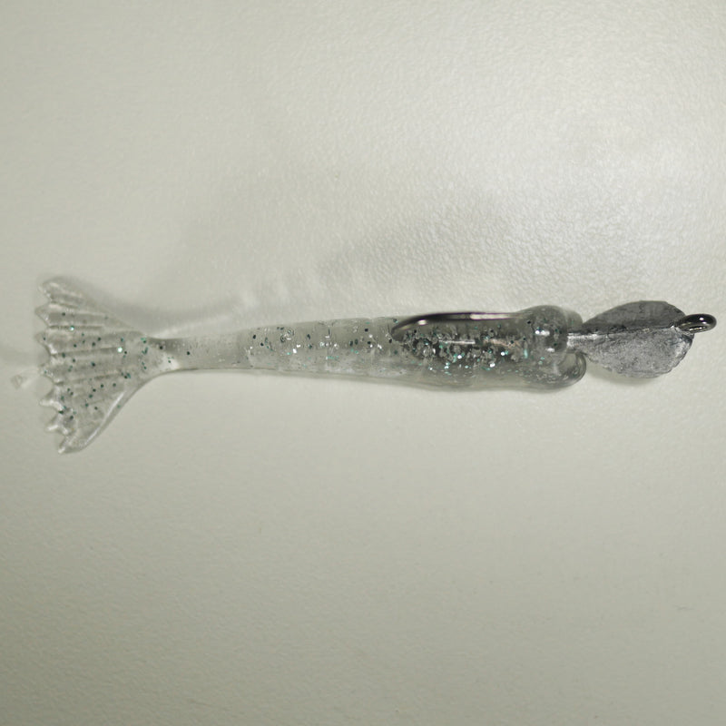 "1/4 oz - 2/0 COBRA JIGHEAD (qty 5) + AATB / Esky 3"" Soft Plastic Shrimp (qty 25) - NATURAL GRAY"
