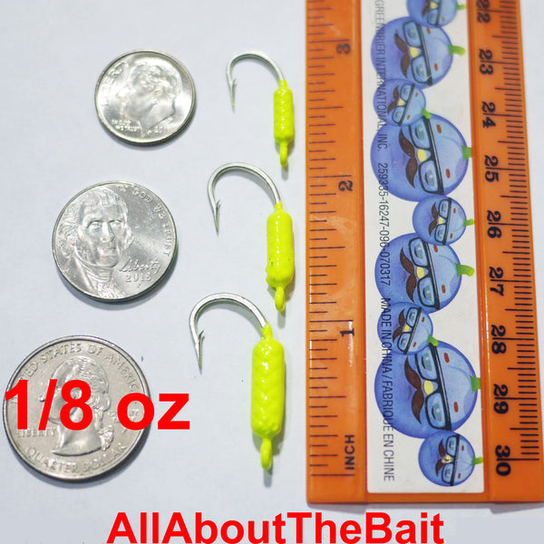 (BLEM) 1/8 oz. - CHARTREUSE - 50 CT. - Yellowtail Snapper Drift Jig - FREE SHIPPING