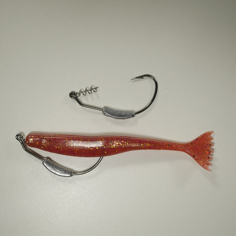 "WEIGHTED HOOK RIGGING KIT (Qty 5) SHMINNOW (Shrimp/Minnow) 4"" Soft Plastic Shrimp/Fluke (Qty 20) - CRANBERRY"