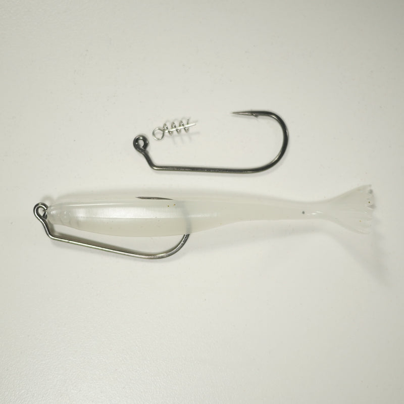 "4/0 2X STRONG RIGGING KIT (Qty 5) SHMINNOW (Shrimp/Minnow) 4"" Soft Plastic Shrimp/Fluke (Qty 20) - GLOW"