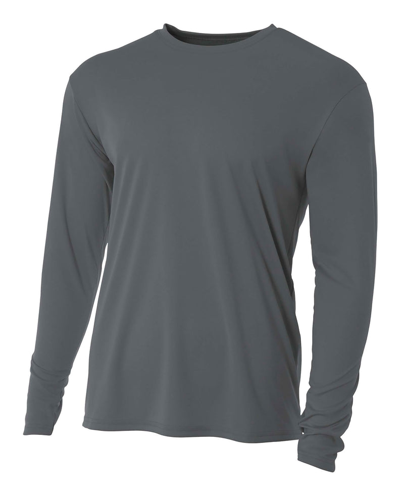 (Plain - No Logo) - GRAPHITE - 100% Micro Fiber Polyester Performance Long Sleeve Shirt (FREE SHIPPING)