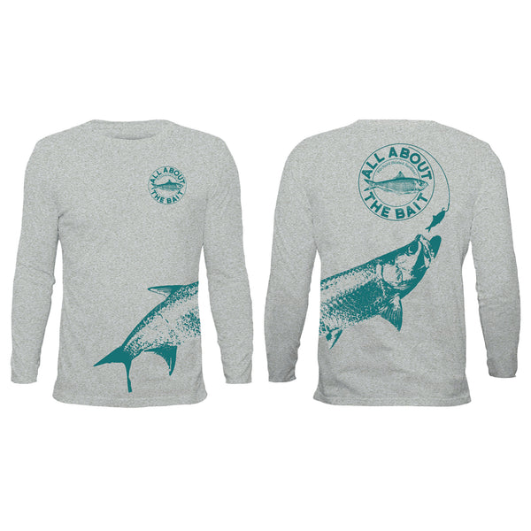 (size Small)(FREE MASK) Pilchard With Tarpon.  Long Sleeve Shirt Gray Twill/Forest Green - (FREE SHIPPING)