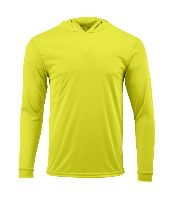 (NO LOGO) PLAIN HOODED - SAFETY GREEN - 50+ UPF - Long Sleeve Performance Shirt - 100% Polyester - FREE DELIVERY