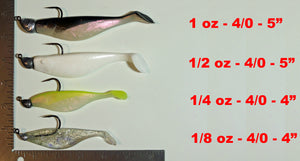 "4"" SILVER/GOLD Paddletail Soft Plastic (qty 20) + AATB Jighead (qty 4) COMBO PACK.  FREE SHIPPING."