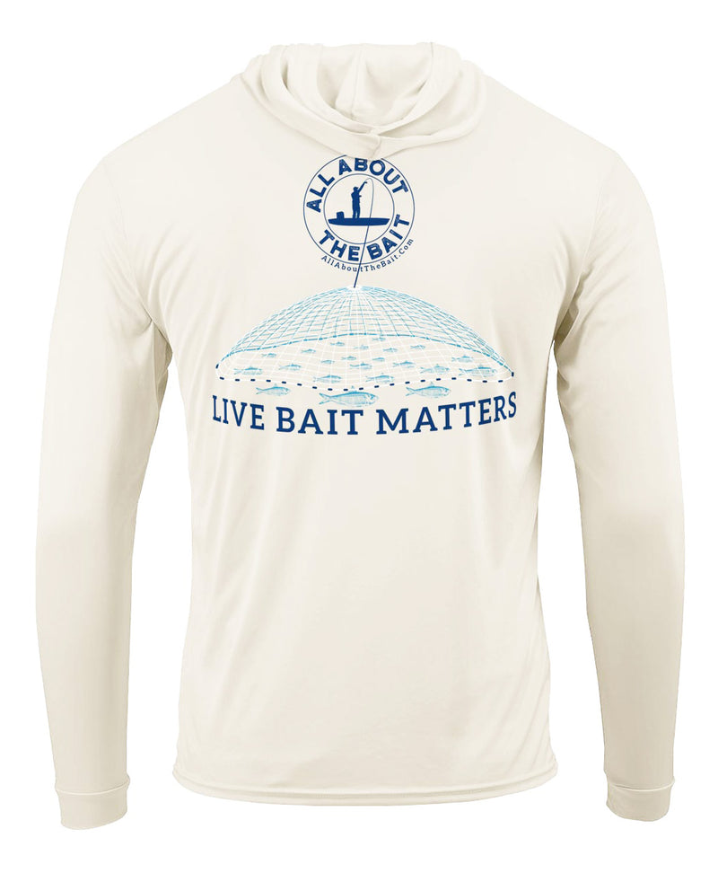 (FREE MASK) LIVE BAIT MATTERS HOODED - SAND - 50+ UPF - Long Sleeve Performance Shirt - 100% Polyester - FREE DELIVERY