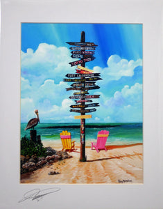 Ray Rolston Canvas Print - Fort Zachary Taylor Mile Marker - FREE SHIPPING