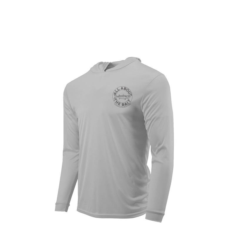 MULLET CAST NET HOODED - ALUMINUM - 50+ UPF - Long Sleeve Performance Shirt - 100% Polyester - FREE DELIVERY