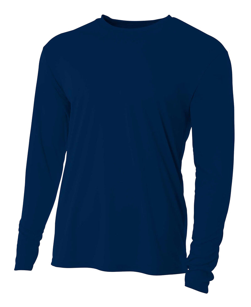 (Plain - No Logo) - NAVY BLUE - 100% Micro Fiber Polyester Performance Long Sleeve Shirt (FREE SHIPPING)