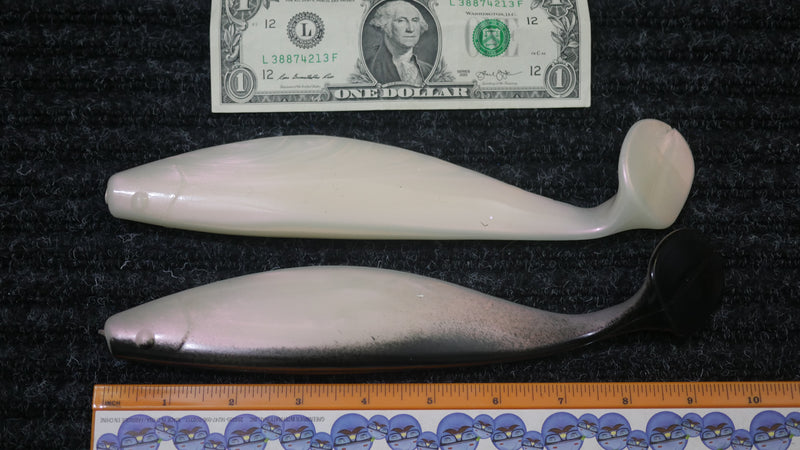 "Mullet Run - 9"" Paddle Tail - MIX PACK White Pearl & White Pearl w/ Black Back - 5/$15, 10/$25, 25/$50 (FREE SHIPPING)"