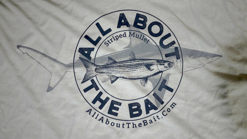 Striped Mullet/Blacktip Shark Short Sleeve T-shirt - Light Gray Color - 100% Combed Ringed-Spun Fine Jersey Cotton (FREE SHIPPING)