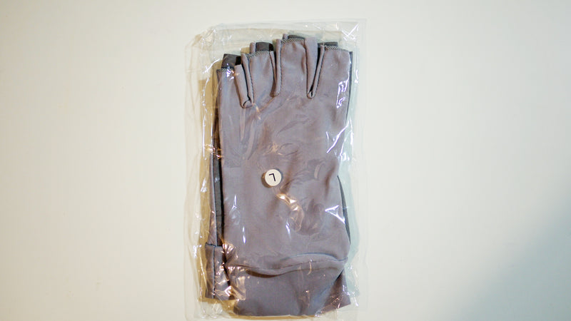 Large Fishing Gloves / Sun Gloves - Light Weight - Light Gray w/ Faux Leather Palm - FREE SHIPPING