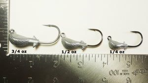 AATB COBRA/Banana Jigheads - 3/4 oz - 4/0 Mustad 2X Heavy Duty Hook - 5, 10, or 25 pack.  FREE SHIPPING.