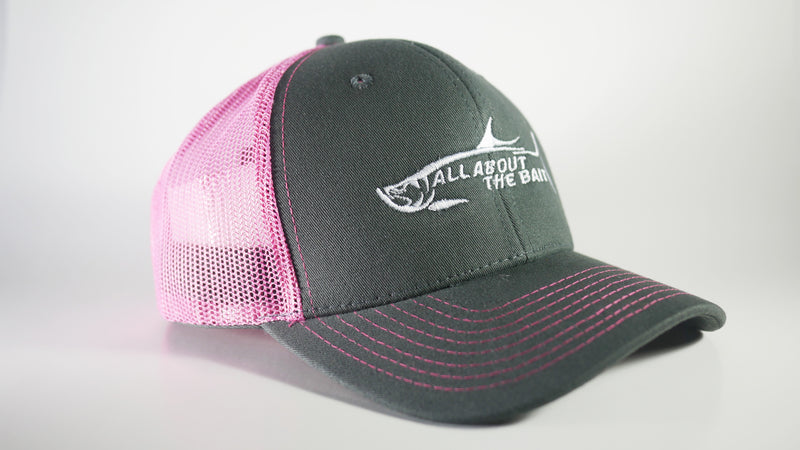 (3 Colors) ALL ABOUT THE BAIT TARPON - KC Caps KC8400 Adult Pro Style Trucker Cap with Neon Mesh - (FREE DELIVERY)