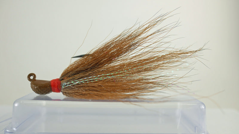 5 Pack - 1/4 oz Bucktail Jig - Cobra Jighead 2X Strong Mustad Hook (Brown, White, Pink, Chartreuse)