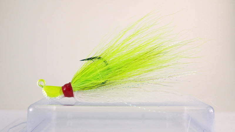 10 Pack - 1/4 oz Bucktail Jig - Cobra Jighead 2X Strong Mustad Hook (Brown, White, Pink, Chartreuse)