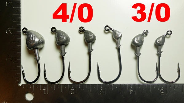 AATB Custom FISH HEAD Jigheads - SAMPLE PACK (2 or 5 OF EACH SIZE (12/30 Total)) - 3/0 HD & 4/0 Mustad 2X Heavy Duty Hooks - 12 OR 30 pack.  FREE SHIPPING