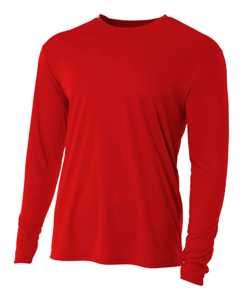 (Plain - No Logo) - SCARLET RED - 100% Micro Fiber Polyester Performance Long Sleeve Shirt (FREE SHIPPING)