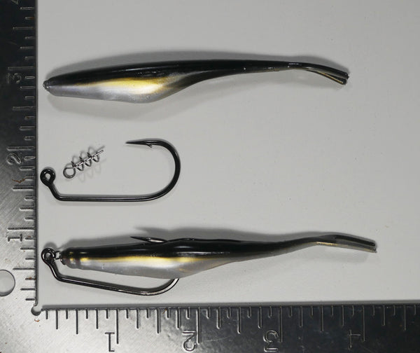 "(RIGGING KIT) 4"" Fluke Soft Plastic - BLACK BACK AND PEARL SHAD - 4 Rigs+20 pack - FREE SHIPPING"