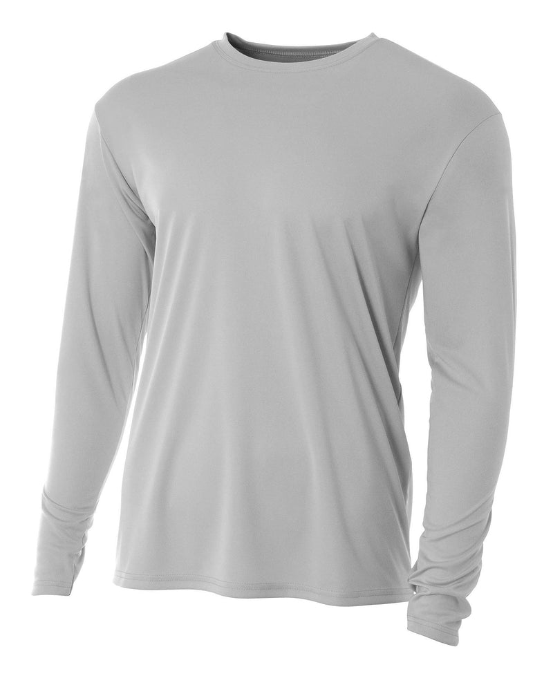 (Plain - No Logo) - SILVER - 100% Micro Fiber Polyester Performance Long Sleeve Shirt (FREE SHIPPING)