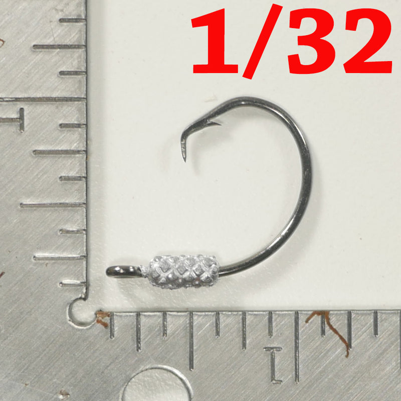 MIXED WEIGHT (1/32, 1/16, 1/8 OZ). - 4/0 Weighted Circle Hook Jig - FREE SHIPPING
