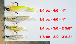 "4"" Paddletail Soft Plastic (qty 20) + AATB Jighead (qty 4) COMBO PACK.  FREE SHIPPING."