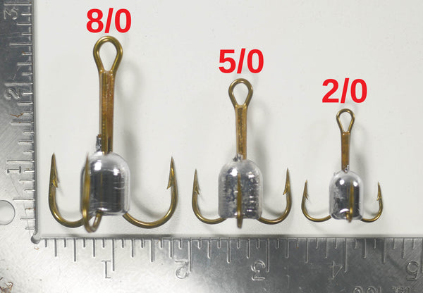 (COMBO PACK) MULLET SNAGGING HOOK - (Qty 1 or 2 of each) - 1/2 oz - 2/0, 1 oz - 5/0, 1.5 oz - 8/0 MUSTAD TREBLE HOOK