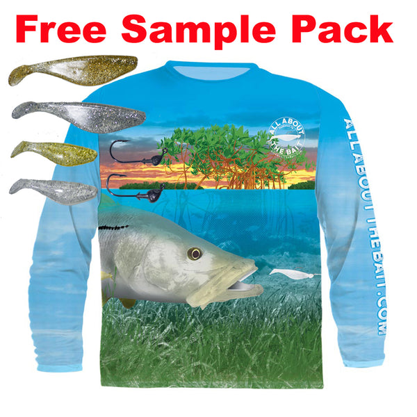 (+ FREE JIGHEAD & PADDLETAIL SAMPLE PACK) - SNOOK PADDLETAIL - COOLMAX - 100% Micro Fiber Polyester Performance Long Sleeve Shirt (FREE SHIPPING)