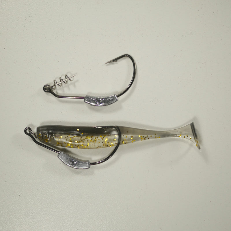 "BLACK BACK GOLD/COMBO - 3"" Paddletail Soft Plastic GLASS MINNOW/Shad (qty 40) + WEIGHTED HOOK (qty 5) COMBO PACK.  FREE SHIPPING."