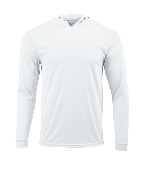 (NO LOGO) PLAIN HOODED - WHITE - 50+ UPF - Long Sleeve Performance Shirt - 100% Polyester - FREE DELIVERY