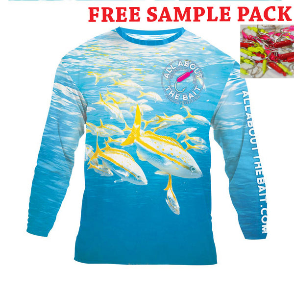 (+ FREE 10 PACK OF JIGS) - Yellowtail Snapper w/ Drift Jig - COOLMAX - 100% Micro Fiber Polyester Performance Long Sleeve Shirt (FREE SHIPPING)