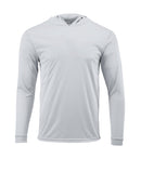 (NO LOGO) PLAIN HOODED - ALUMINUM - 50+ UPF - Long Sleeve Performance Shirt - 100% Polyester - FREE DELIVERY