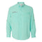 TROPICAL BLUE - Button Up Long Sleeve Guide Shirts - UPF 40 - AATB Embroidery Logo - FREE SHIPPING