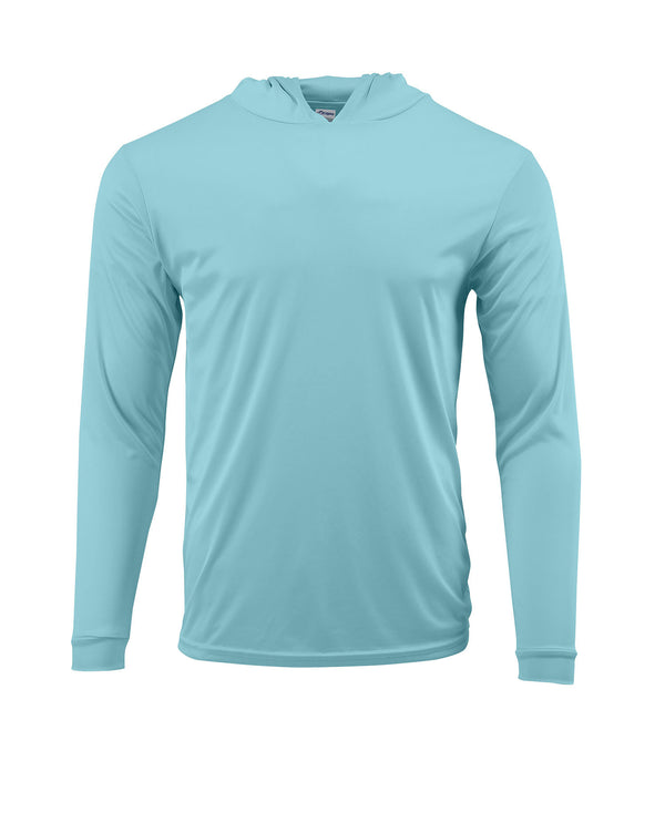 (NO LOGO) PLAIN HOODED - AQUA BLUE - 50+ UPF - Long Sleeve Performance Shirt - 100% Polyester - FREE DELIVERY