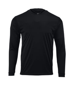 (NO LOGO) PLAIN HOODED - BLACK - 50+ UPF - Long Sleeve Performance Shirt - 100% Polyester - FREE DELIVERY