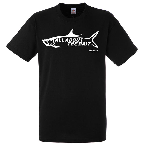 ALL ABOUT THE BAIT TARPON - T-Shirt - BLACK - Hanes Comfort Soft - 100% Cotton - FREE SHIPPING