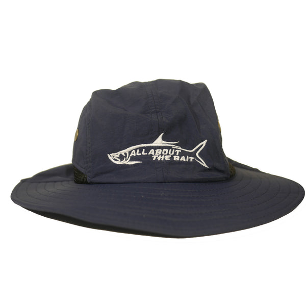 AATB LOGO - Fishing Boonie Hat With Neck Flap -   Navy Blue - One Size Fits Most - Free Shipping