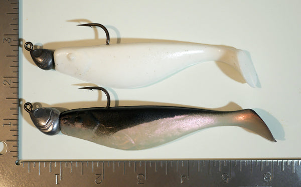 "5"" Paddletail Finger Mullet (qty 10) + AATB Jighead (qty 4) COMBO PACK.  FREE SHIPPING."