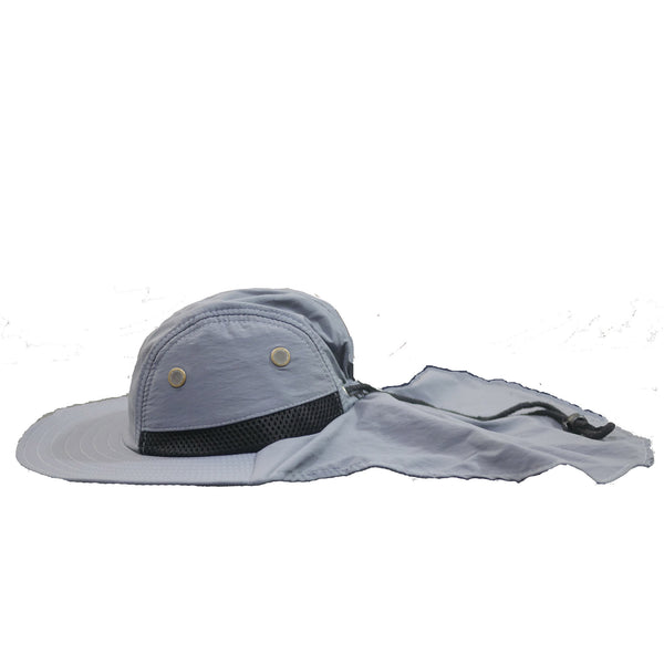 Fishing Boonie Hat With Neck Flap - Pewter Gray - One Size Fits Most - Free Shipping