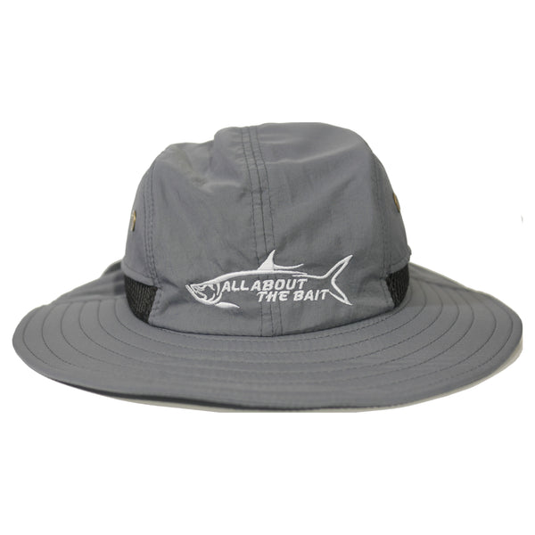 AATB LOGO - Fishing Boonie Hat With Neck Flap - Pewter Gray - One Size Fits Most - Free Shipping