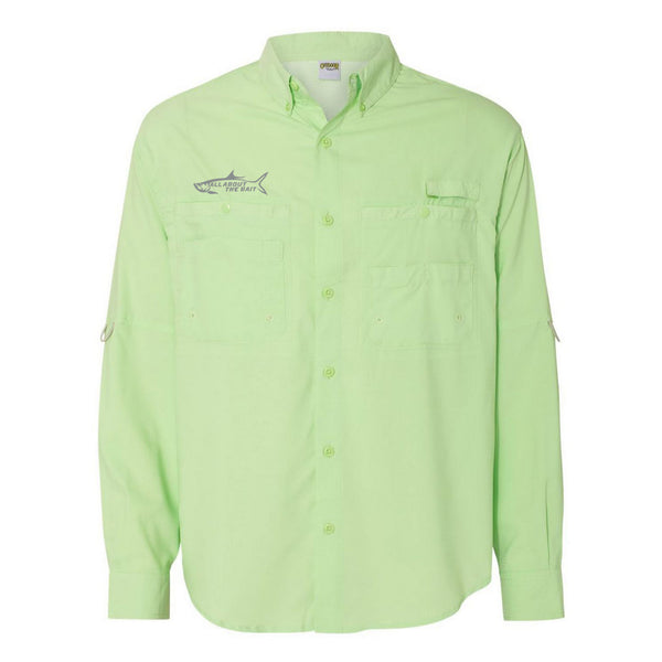 SEA GREEN - Button Up Long Sleeve Guide Shirts - UPF 40 - AATB Embroidery Logo - FREE SHIPPING