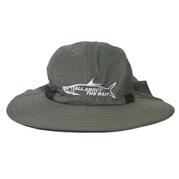 AATB LOGO - Fishing Boonie Hat With Neck Flap - Forest Green - One Size Fits Most - Free Shipping