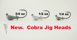 AATB COBRA/BANANA Jigheads - SAMPLE PACK 1/4, 1/2, 3/4 oz.  (3 or 5 OF EACH SIZE (9/15 Total)) - 2/0, 3/0, & 4/0 Mustad 2X Heavy Duty Hooks - 9 OR 15 pack.  FREE SHIPPING