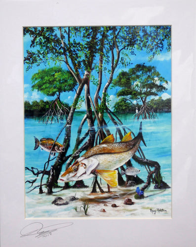 (2 Sizes) Ray Rolston Canvas Print - Mangrove Snook - FREE SHIPPING