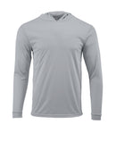 (NO LOGO) PLAIN HOODED - MEDIUM GRAY - 50+ UPF - Long Sleeve Performance Shirt - 100% Polyester - FREE DELIVERY