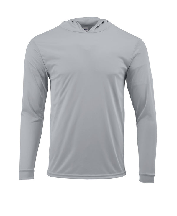 (NO LOGO) PLAIN HOODED - MID GRAY - 50+ UPF - Long Sleeve Performance Shirt - 100% Polyester - FREE DELIVERY